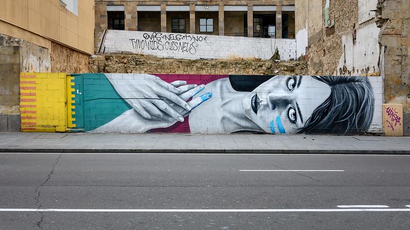 Graffiti created in Gran Via street