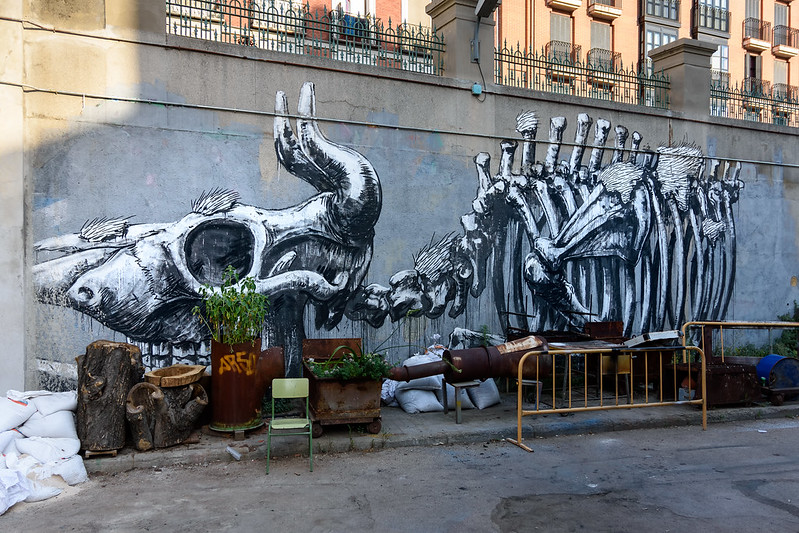 Roa's artwork inside La Tabacalera