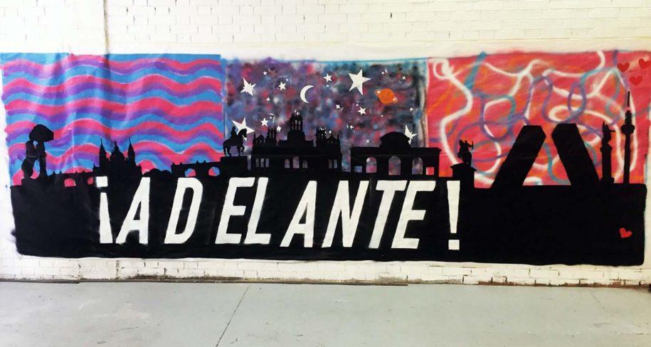 School graffiti wall in Madrid