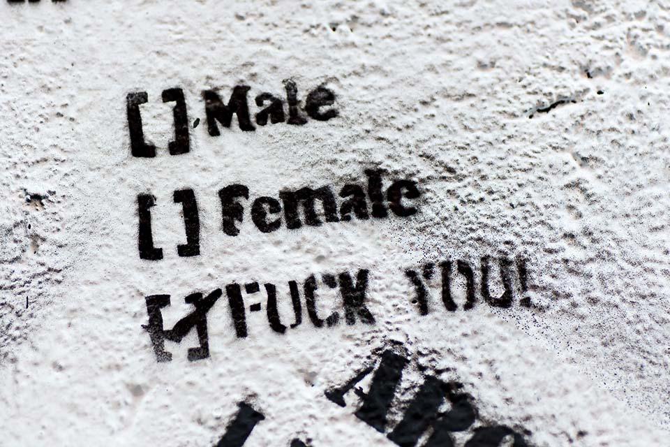 Feminist stencil graffiti
