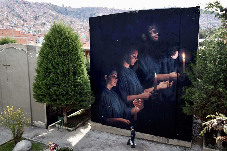 Street art wall by Colectivo Licuado