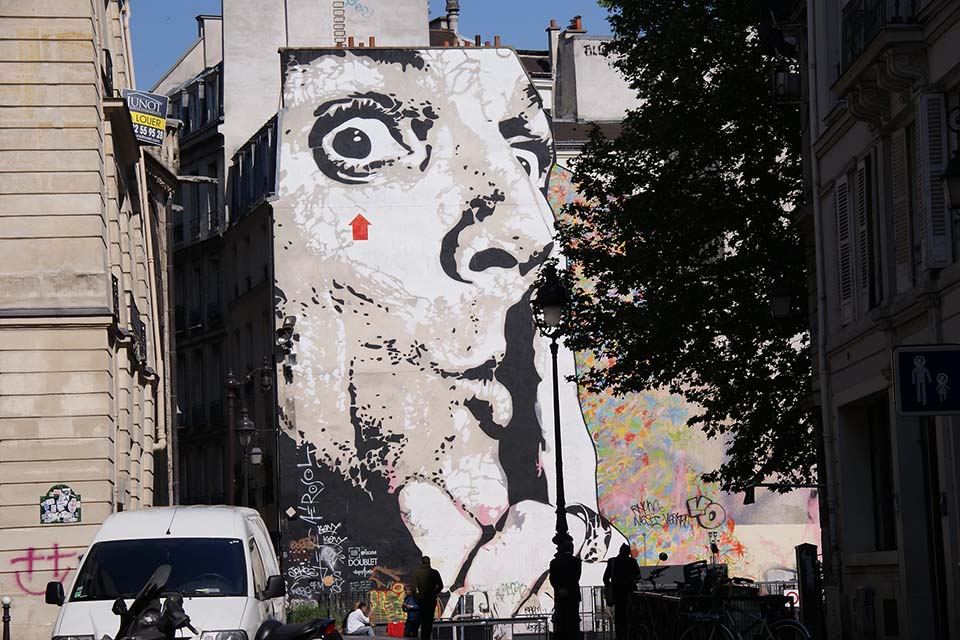 Street art images created by Mr. Aérosol
