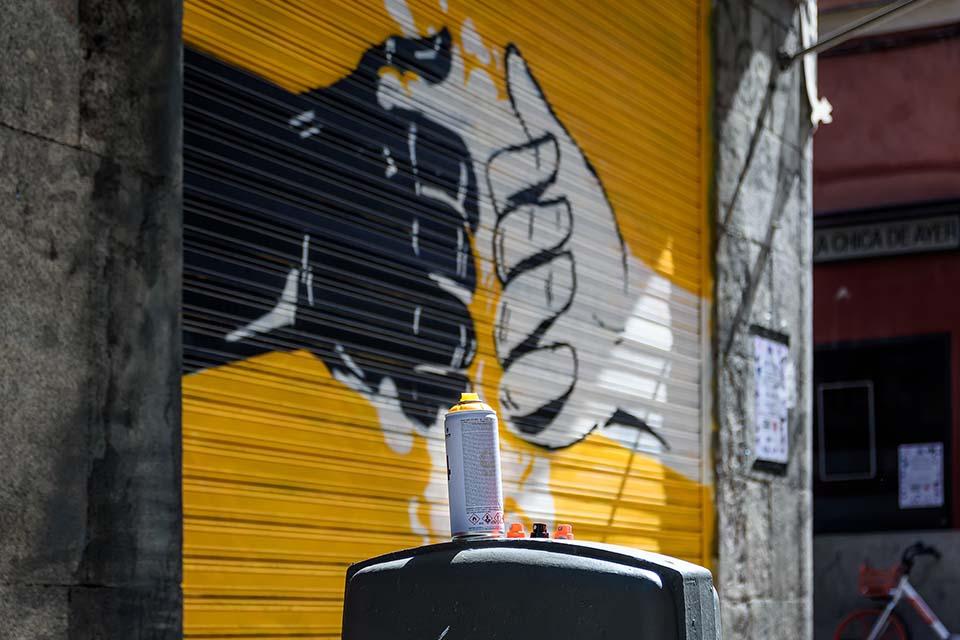 Pinta Malasaña NSN997 artwork in a metal shutter