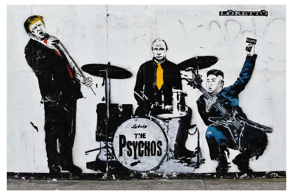 Trump Putin Jong-Un street art