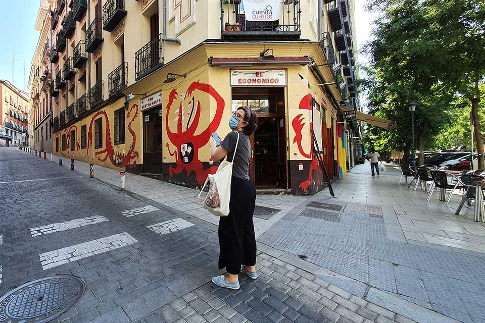 visitors walking in Madrid