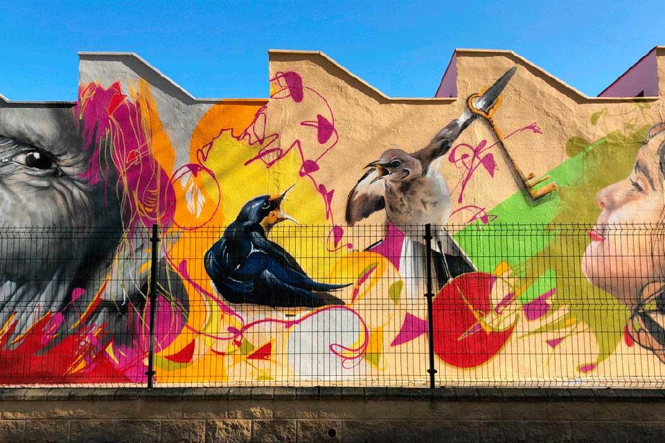 Graffiti mural created by Jacobo Palos Wey