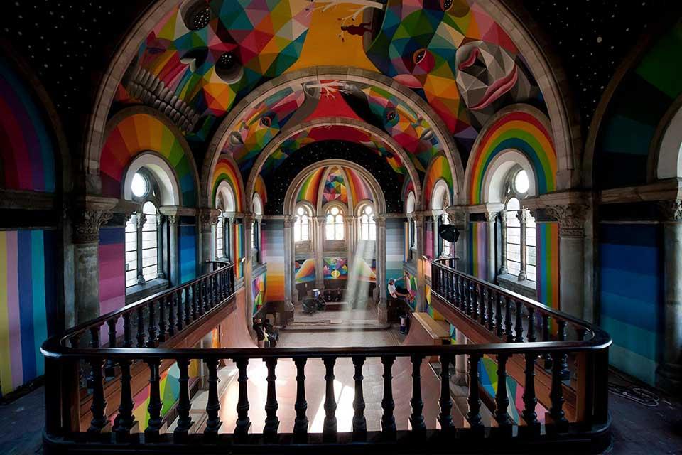 Urban art in an old church