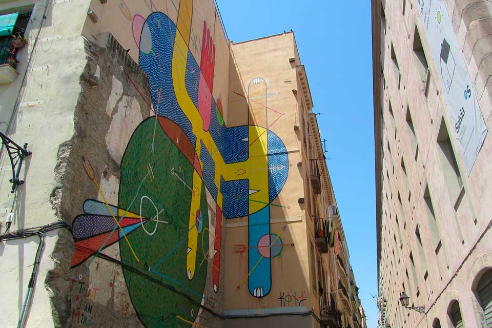 abstract street art in barcelona