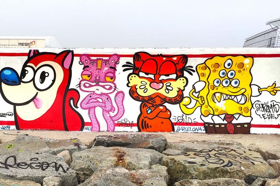 puppet mindz graffiti characters in Barcelona, Spain