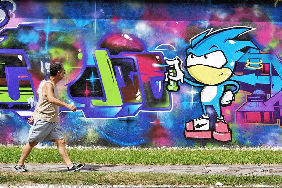 cartoons street figures created with spray paint